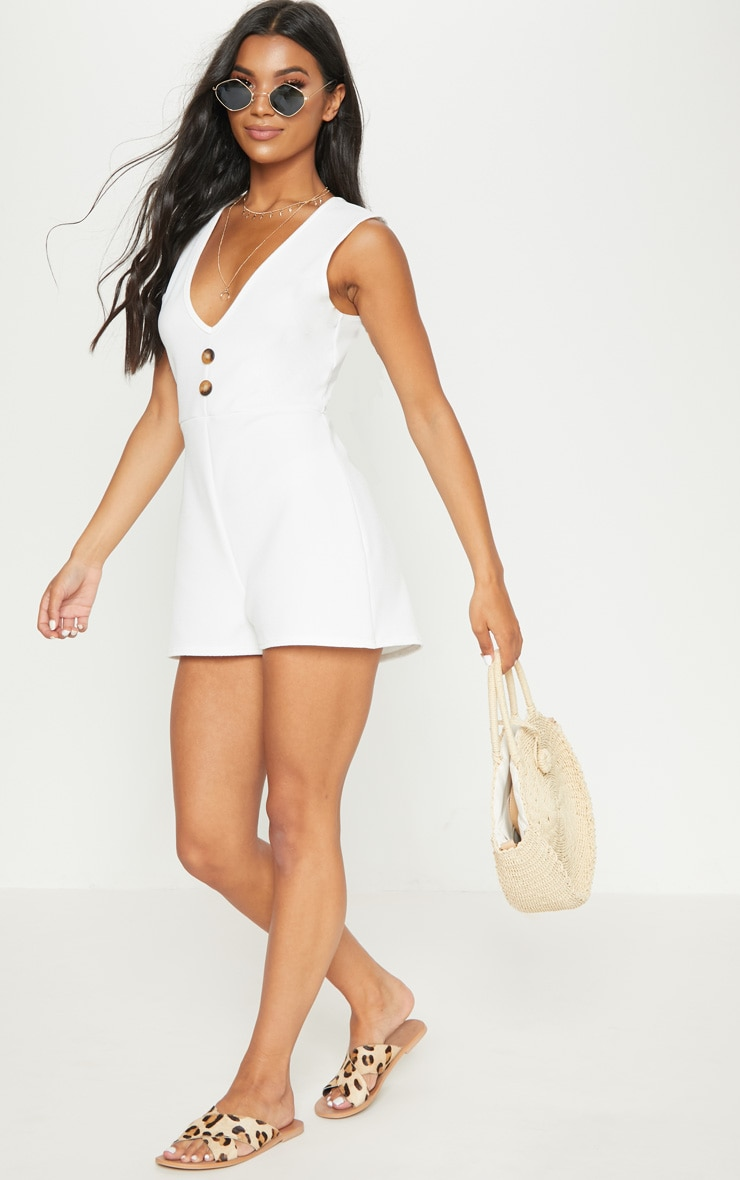 White Button Detail Slouchy Playsuit 4