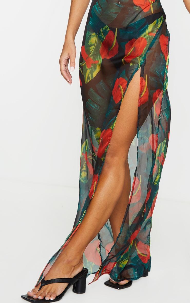 Red Floral Palm Cowl Neck Beach Dress 5