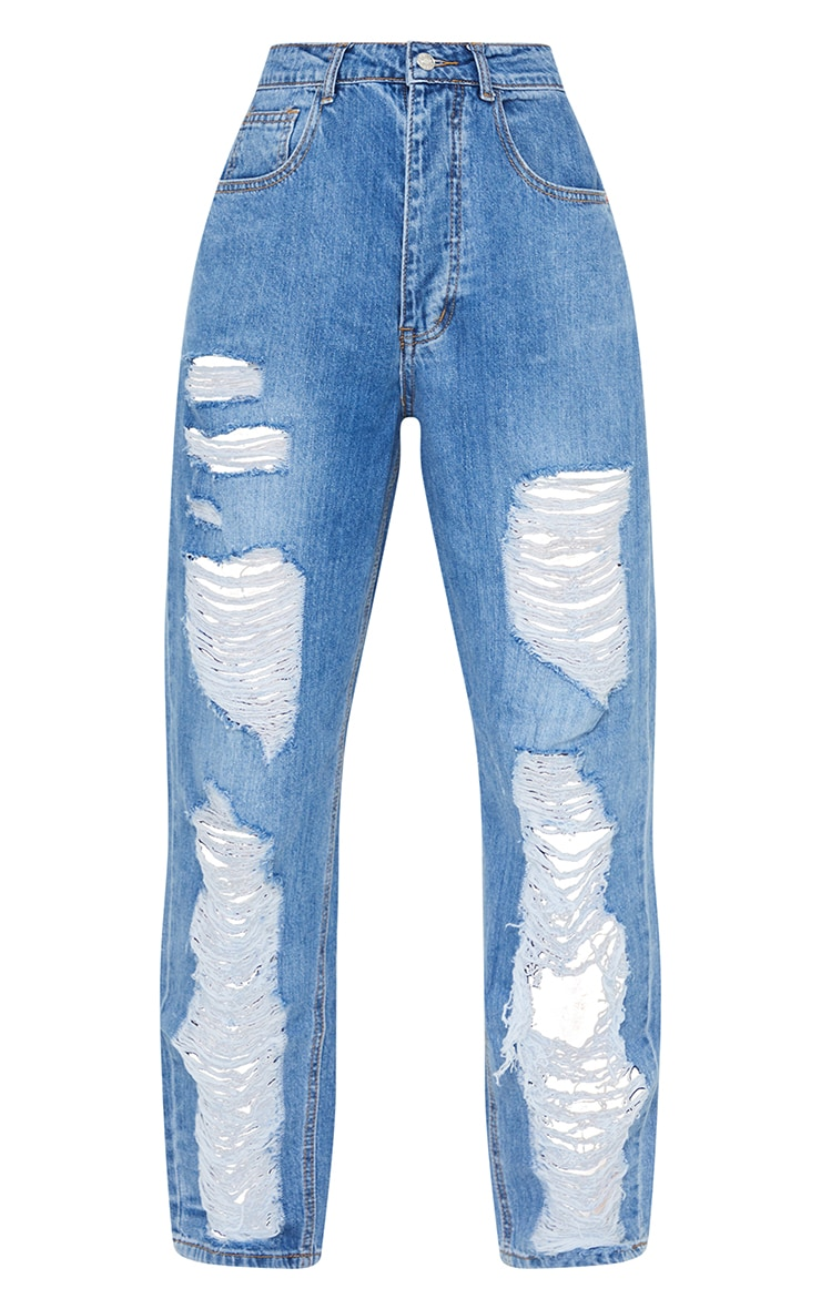 PRETTYLITTLETHING Mid Blue Distressed Boyfriend Jeans 5