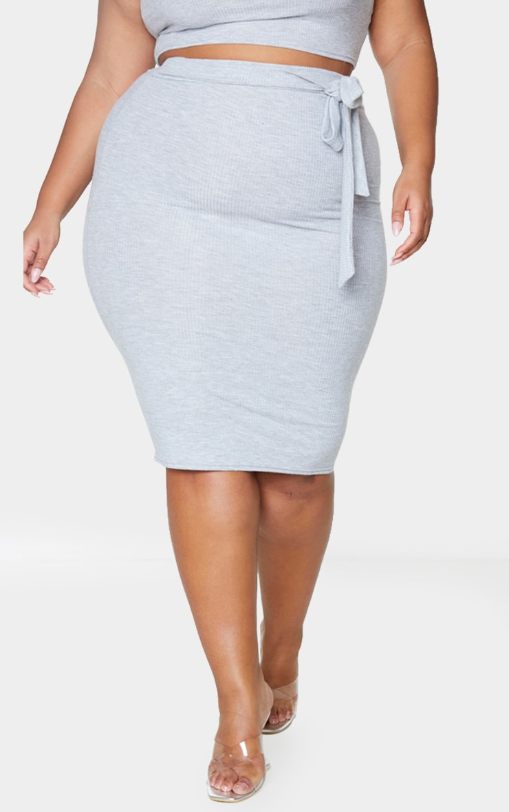 Plus Grey Soft Rib Midi Skirt 2