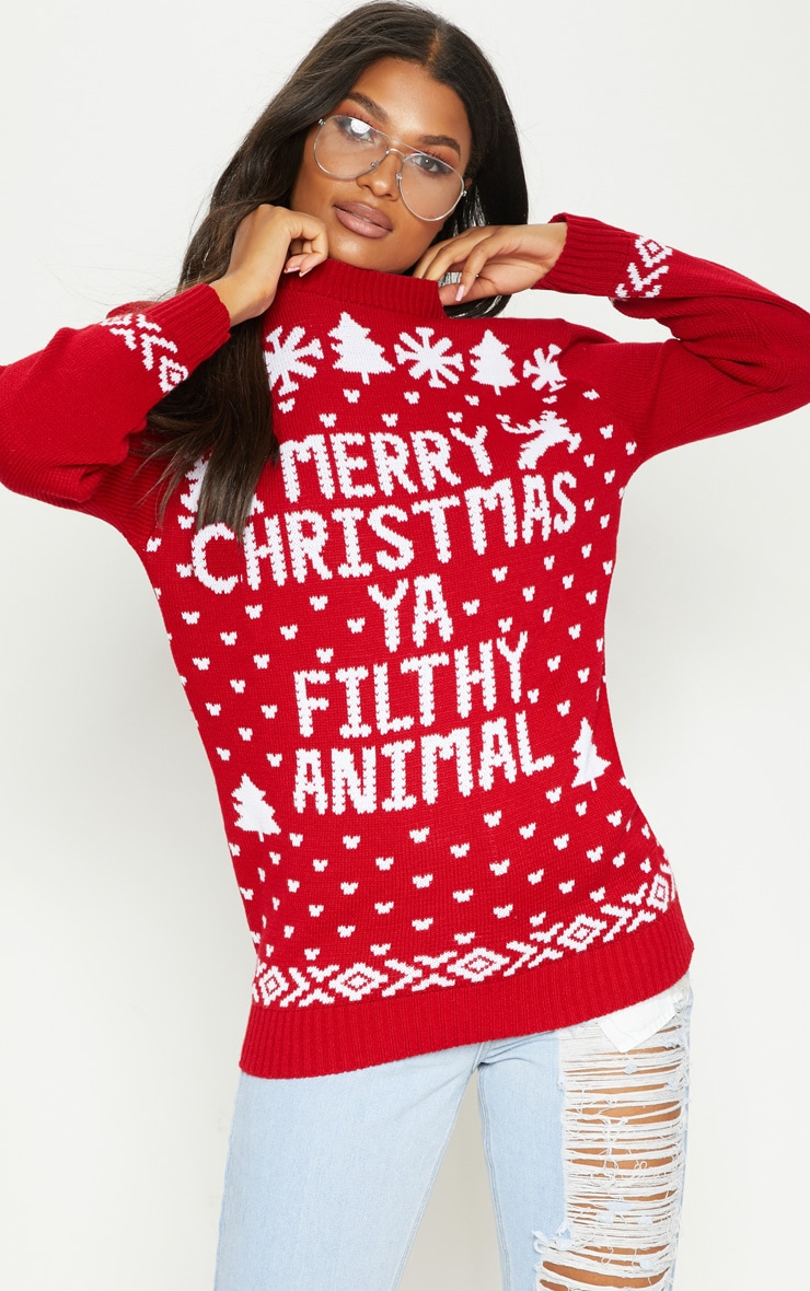 Filthy Animal Red Christmas Jumper 1