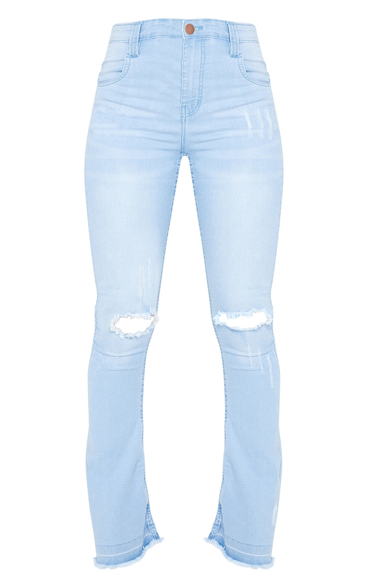 Mid Blue Distressed Knee Flare Jean 5