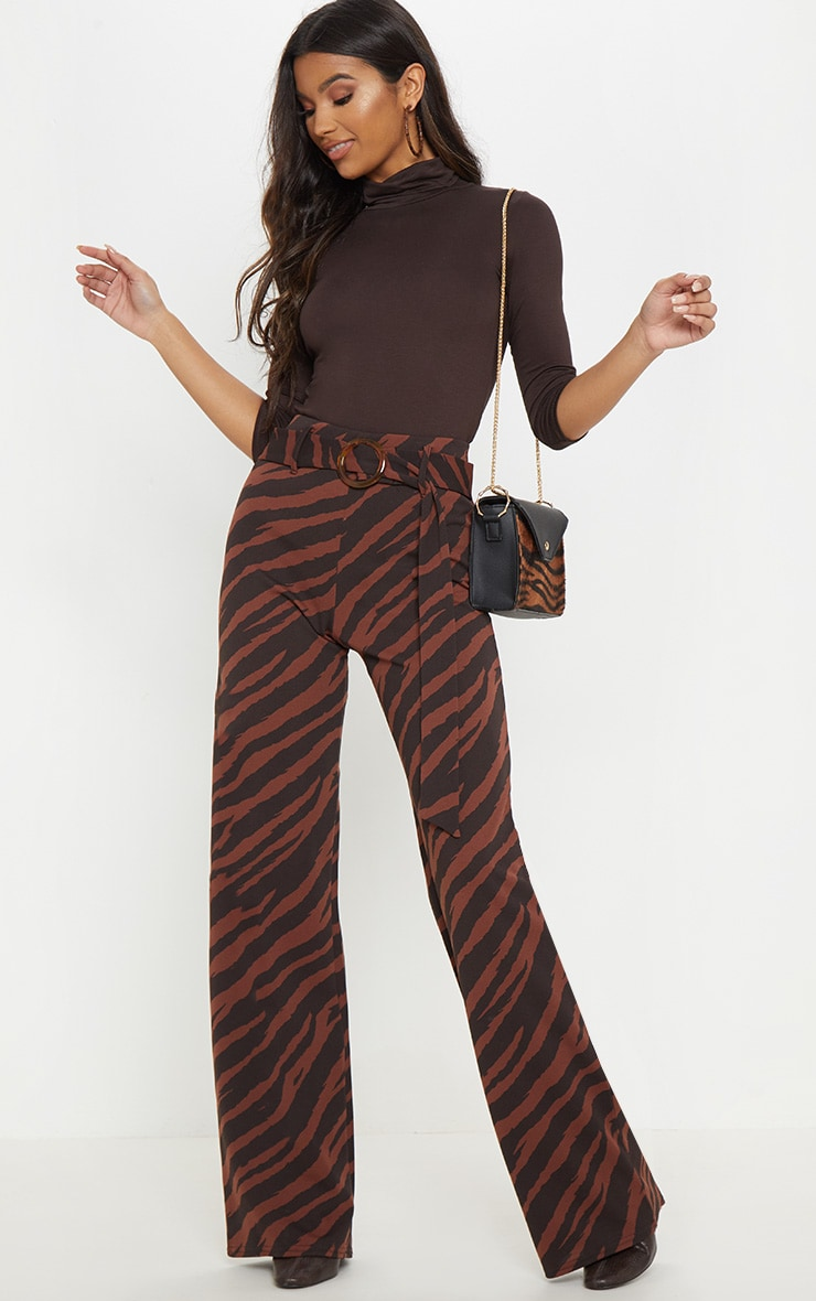 Chocolate Zebra Print Tortoise Shell Belted Wide Leg Trouser