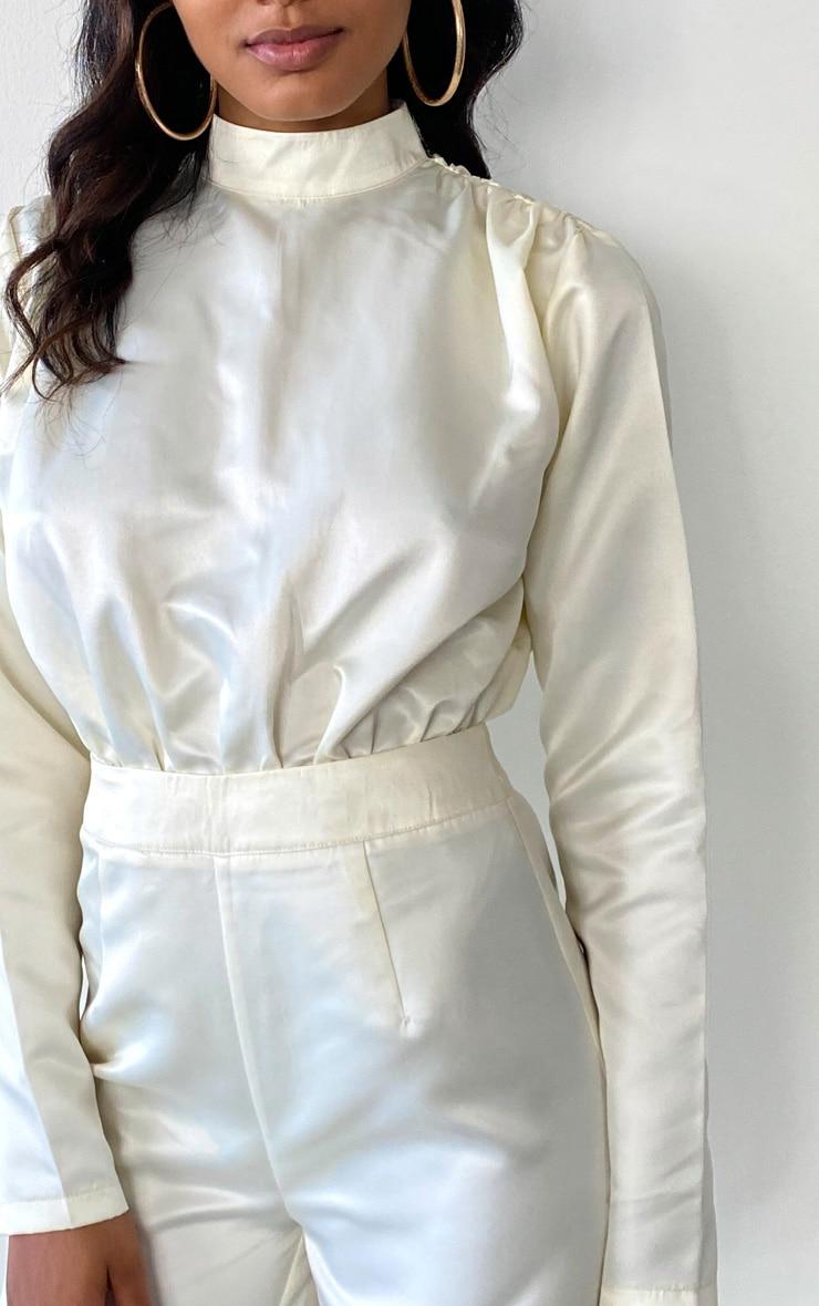 Tall Cream Ruched Shoulder Satin Bodysuit 4
