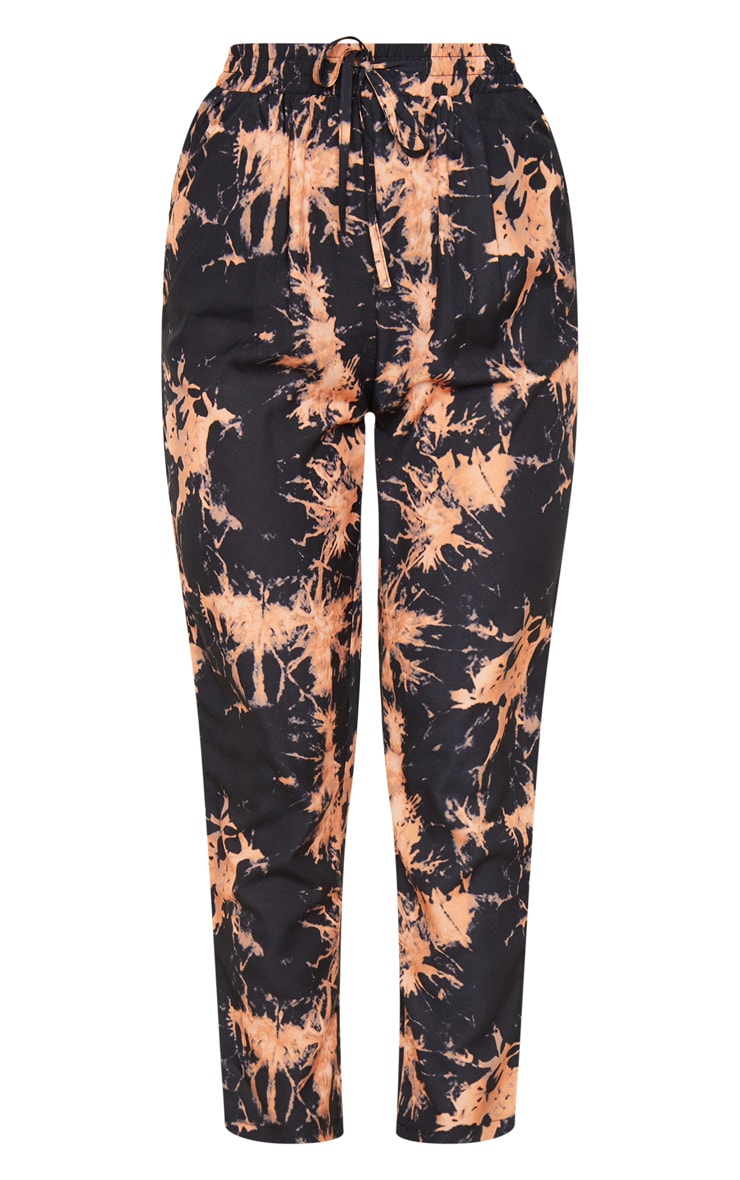 Black Tie Dye Woven High Waisted Straight Leg Pants 3