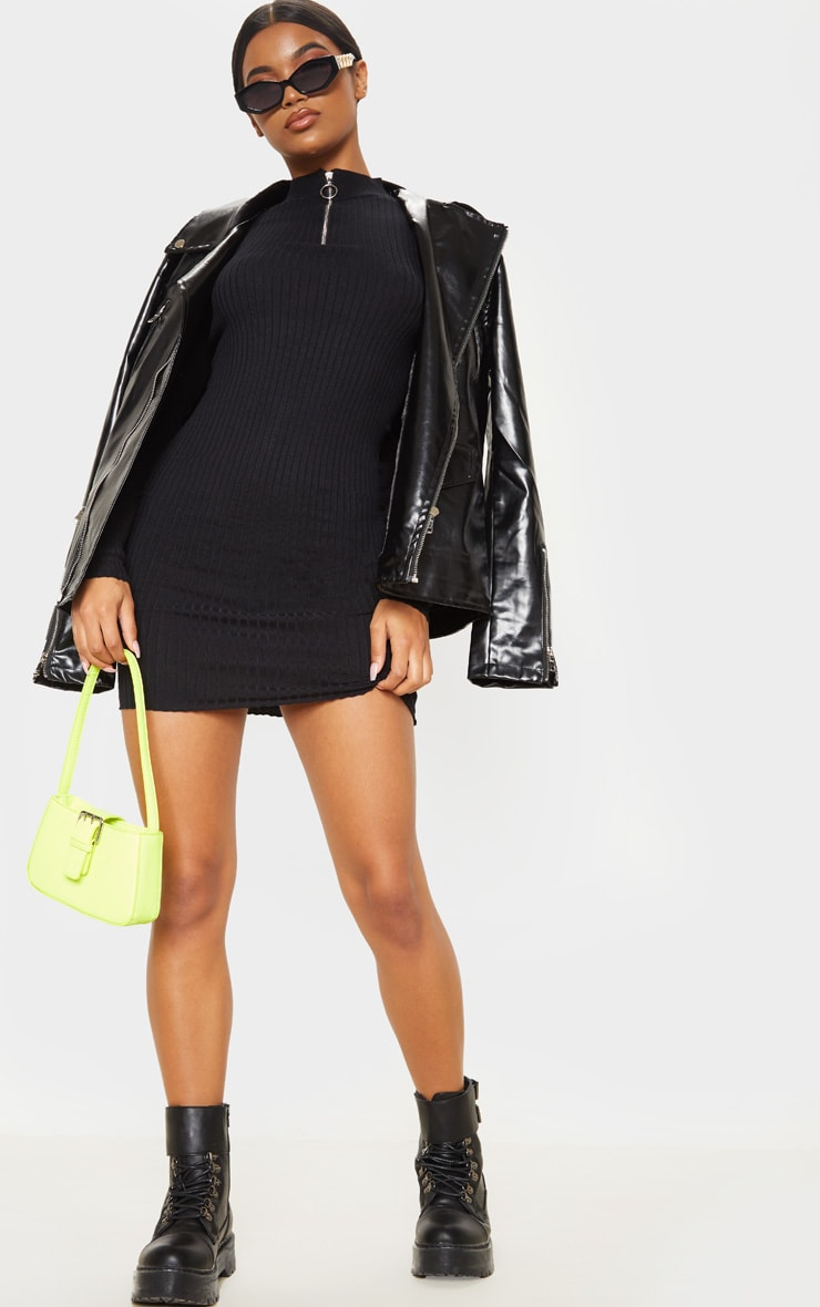 Black Zip Front Knitted Rib Bodycon Dress 4