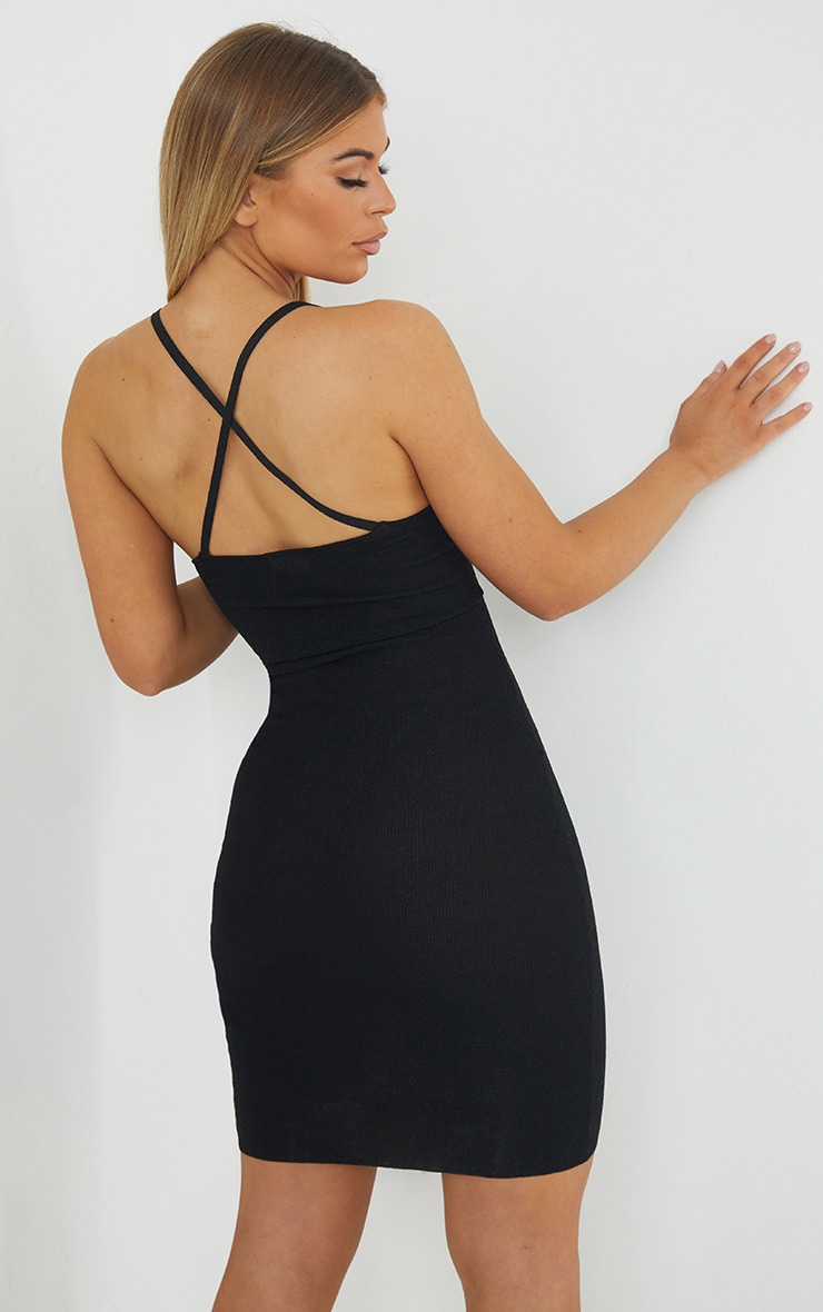 Black Premium Knit Cross Back Strap Glitter Dress 2