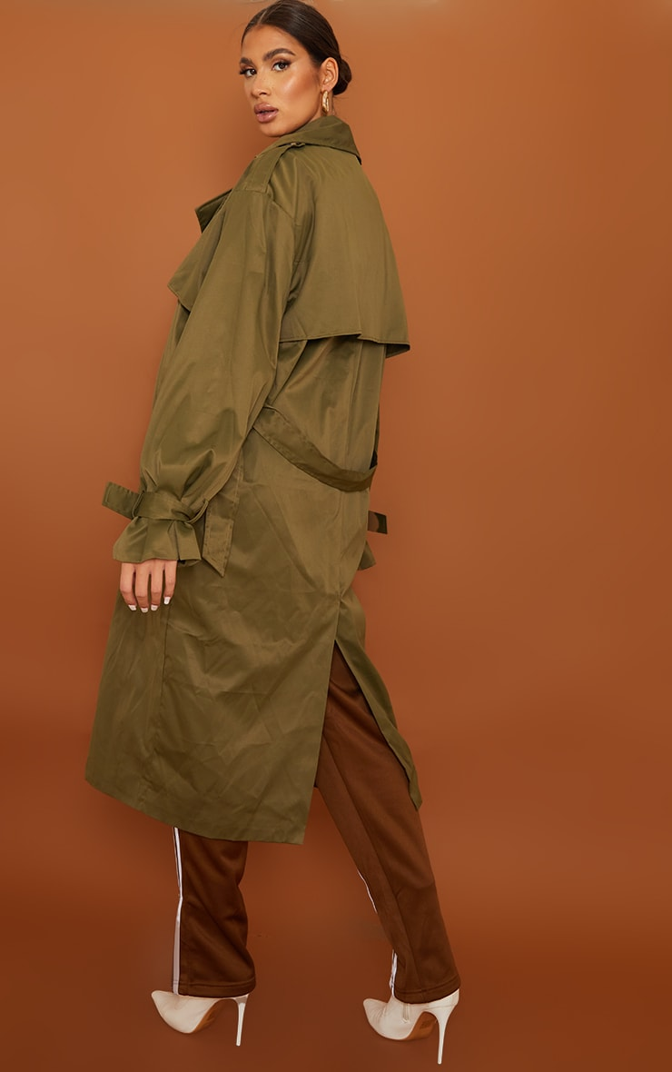 Tall Khaki Oversized Belted Midi Trench 2