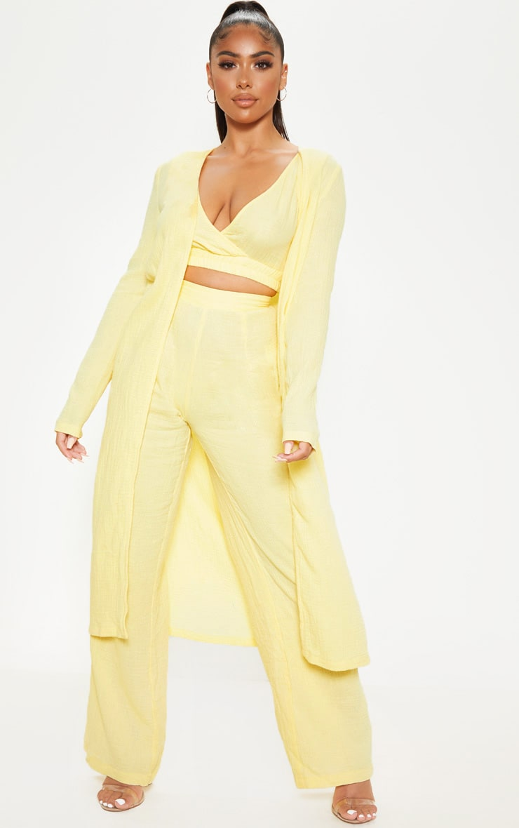 Petite Lemon Woven Longline Duster Jacket 1