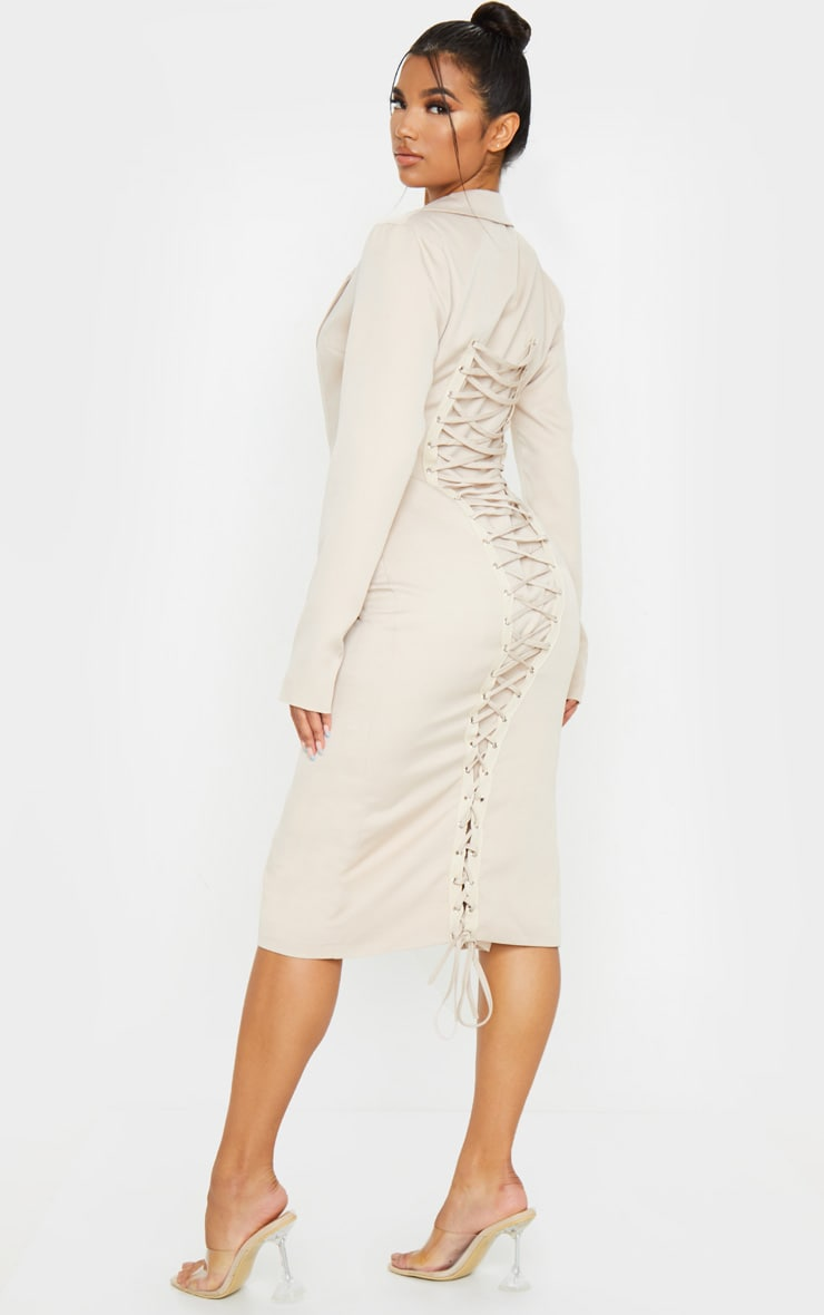 Nude Long Sleeve Lace Up Back Detail Midi Blazer Dress 1