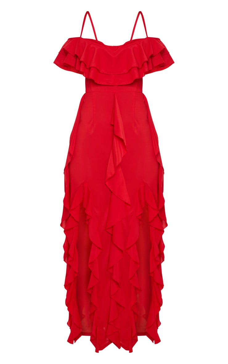 Red Cold Shoulder Ruffle Detail Maxi Dress 4