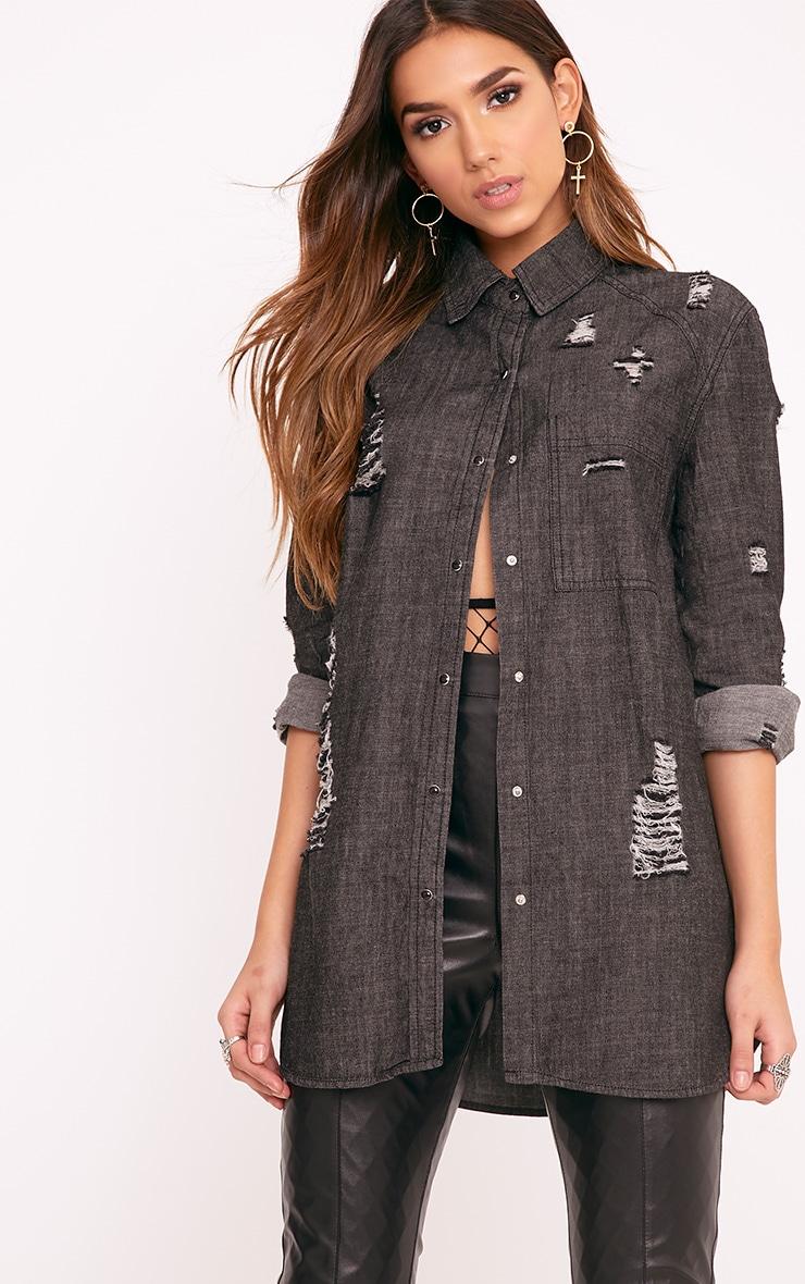 Miae Black Distressed Oversized Denim Shirt 1