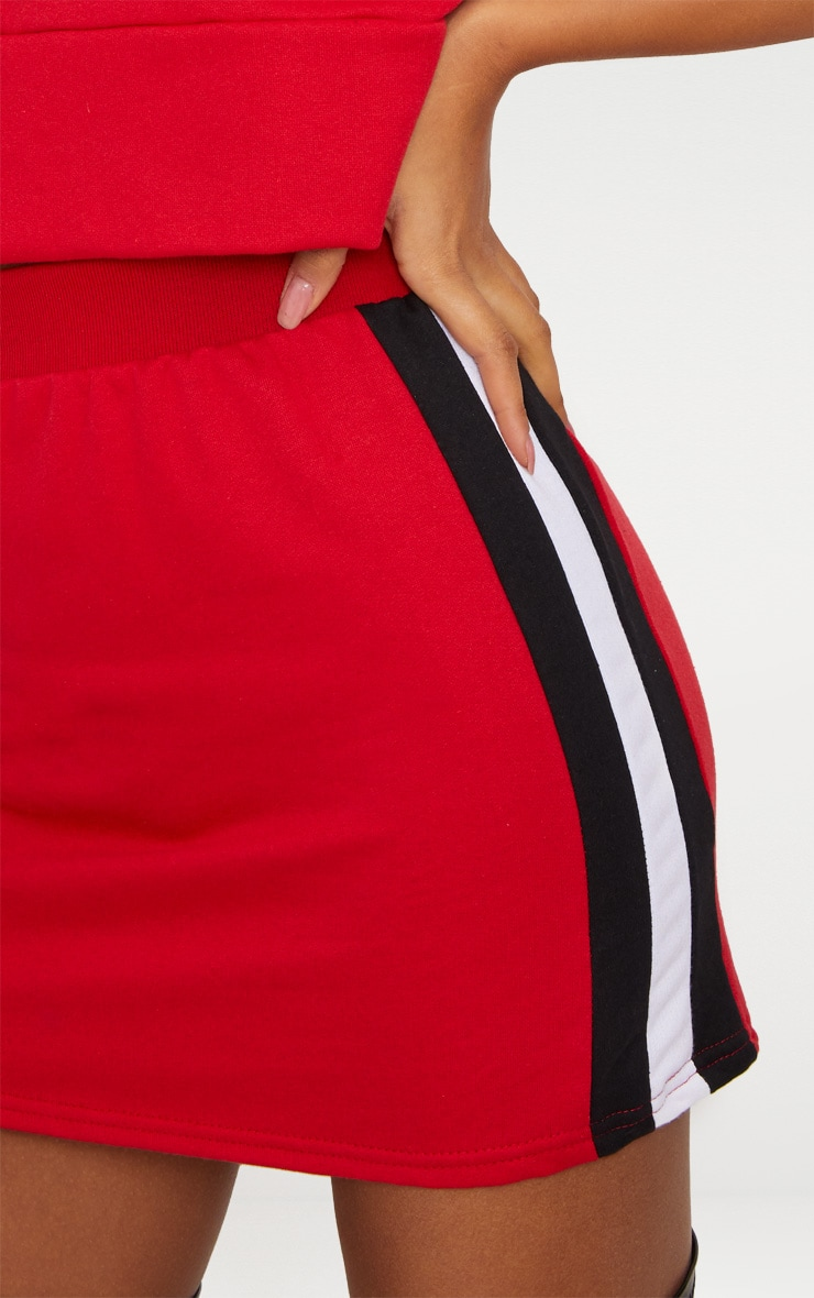 Red Contrast Side Panel Sweat Mini Skirt  6