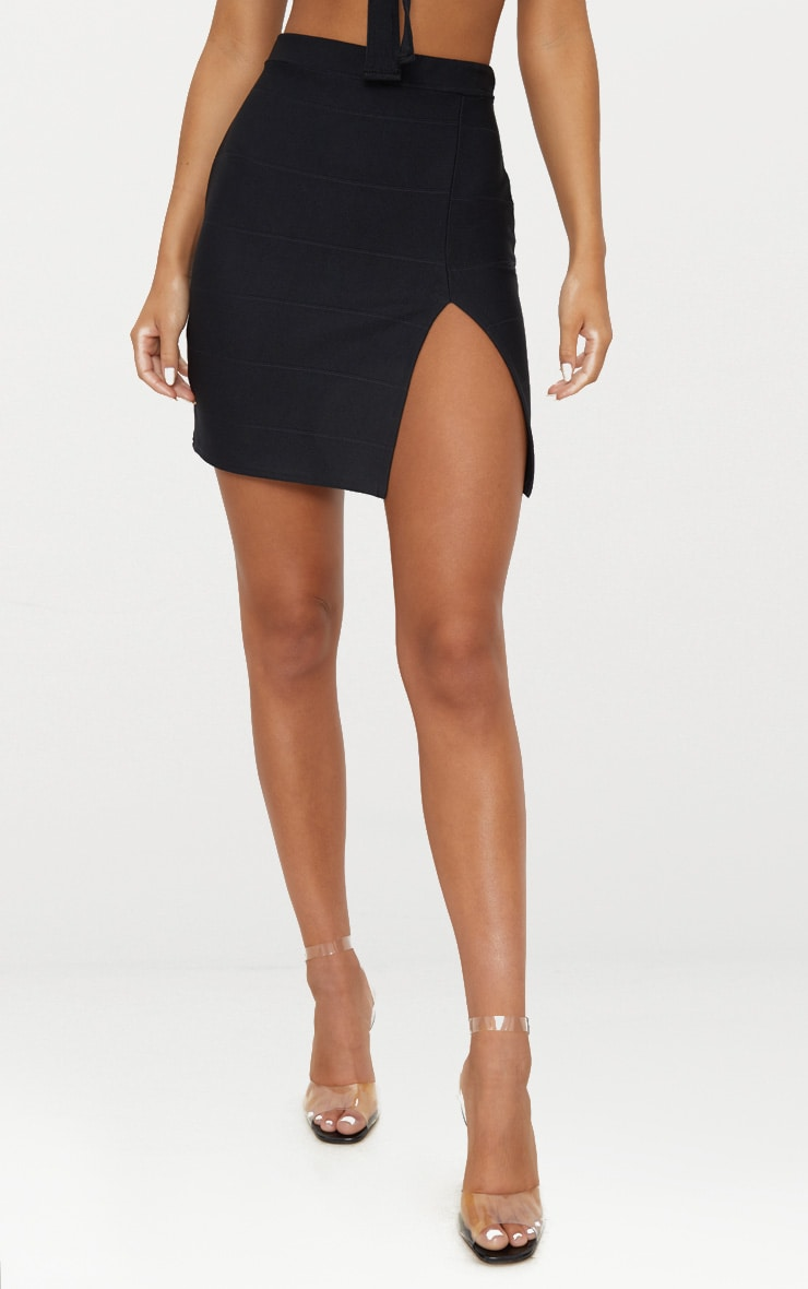 Black Bandage Split Mini Skirt  2