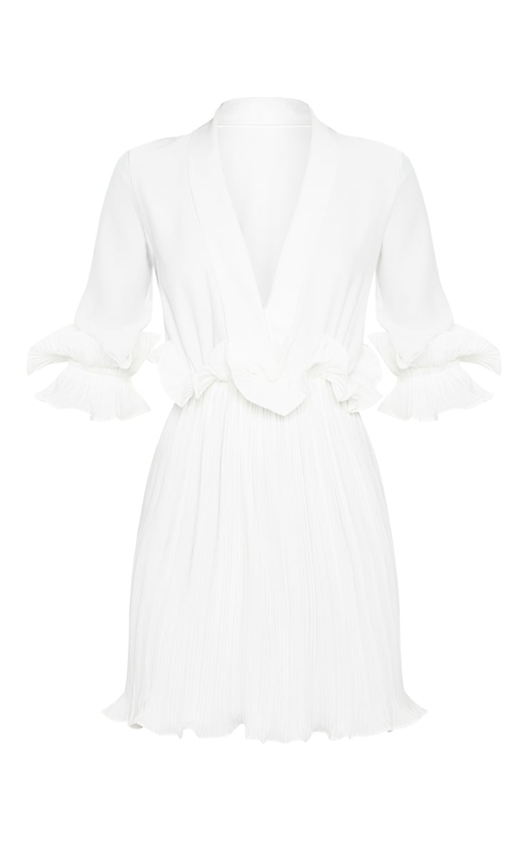 White Frill Detail Pleated Skater Dress 3