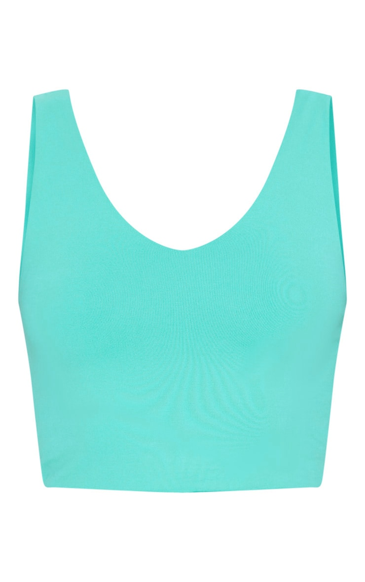 Turquoise Luxe Longline Cropped Sports Top 3