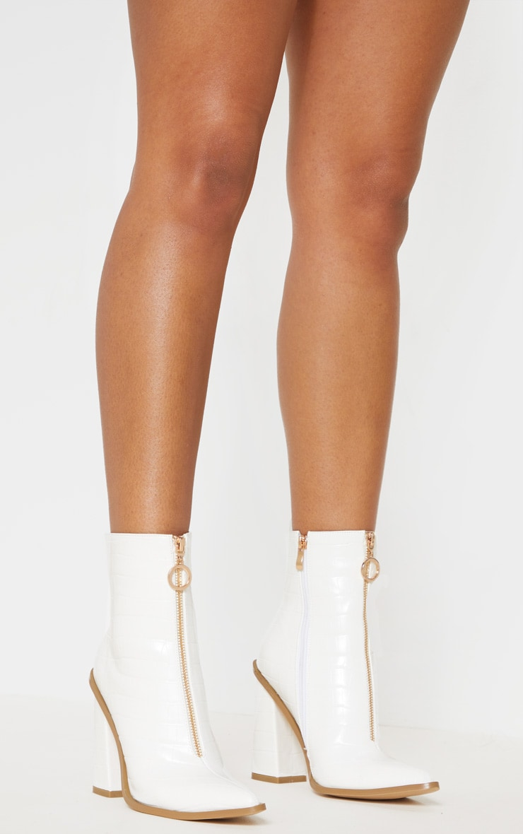 White Zip Front Block Heel Boot 2