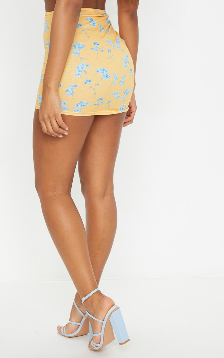 Mustard Printed Jersey Ruched Tie Side Mini Skirt 3