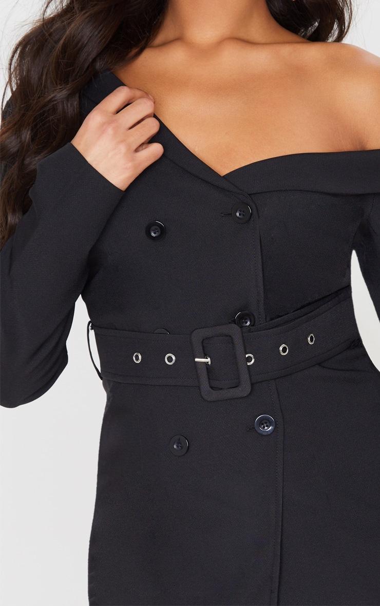 Black Woven One Shoulder Belted Blazer 5
