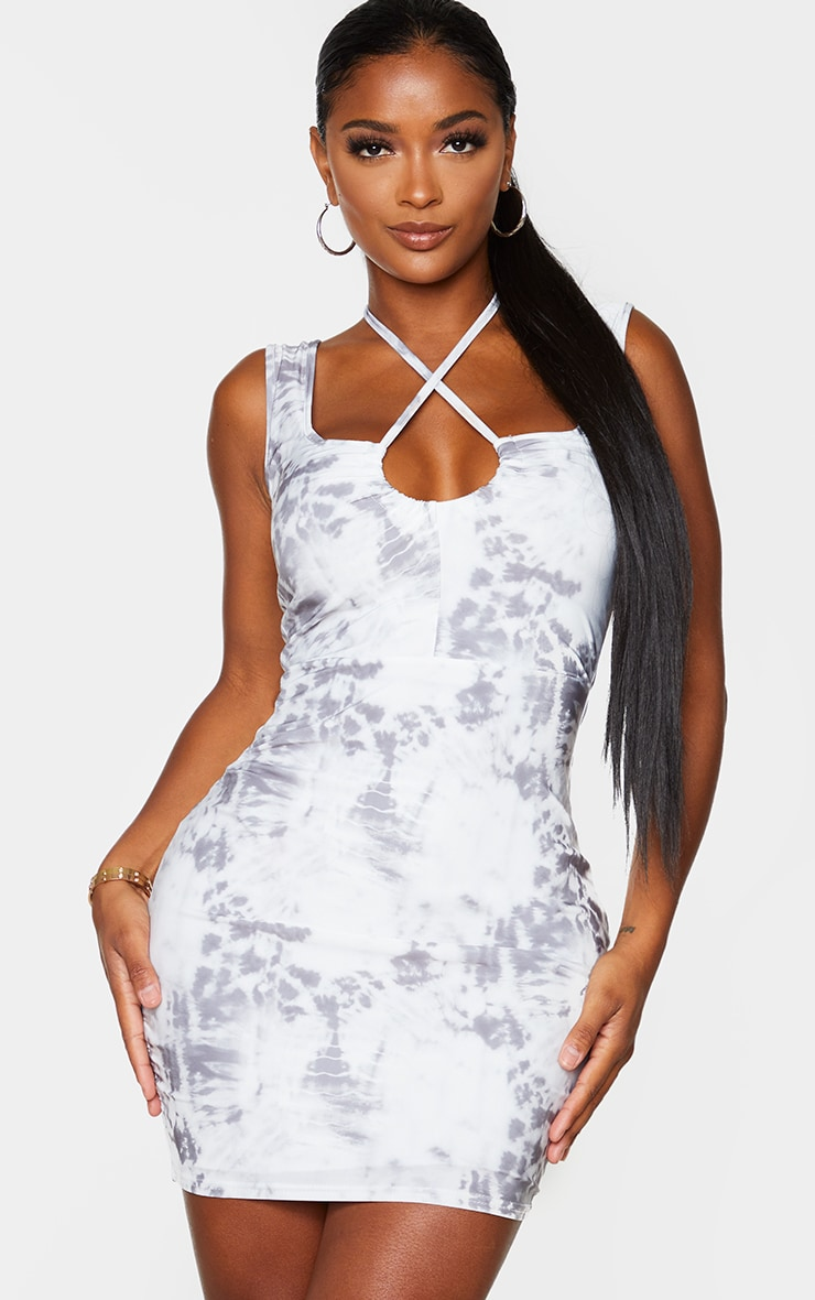 Shape Grey Tie Dye Ruched Detail Halterneck Bodycon Dress 1