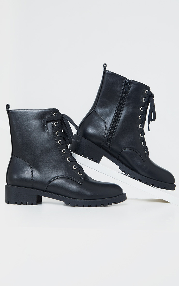 Black Basic PU Biker Boots 3