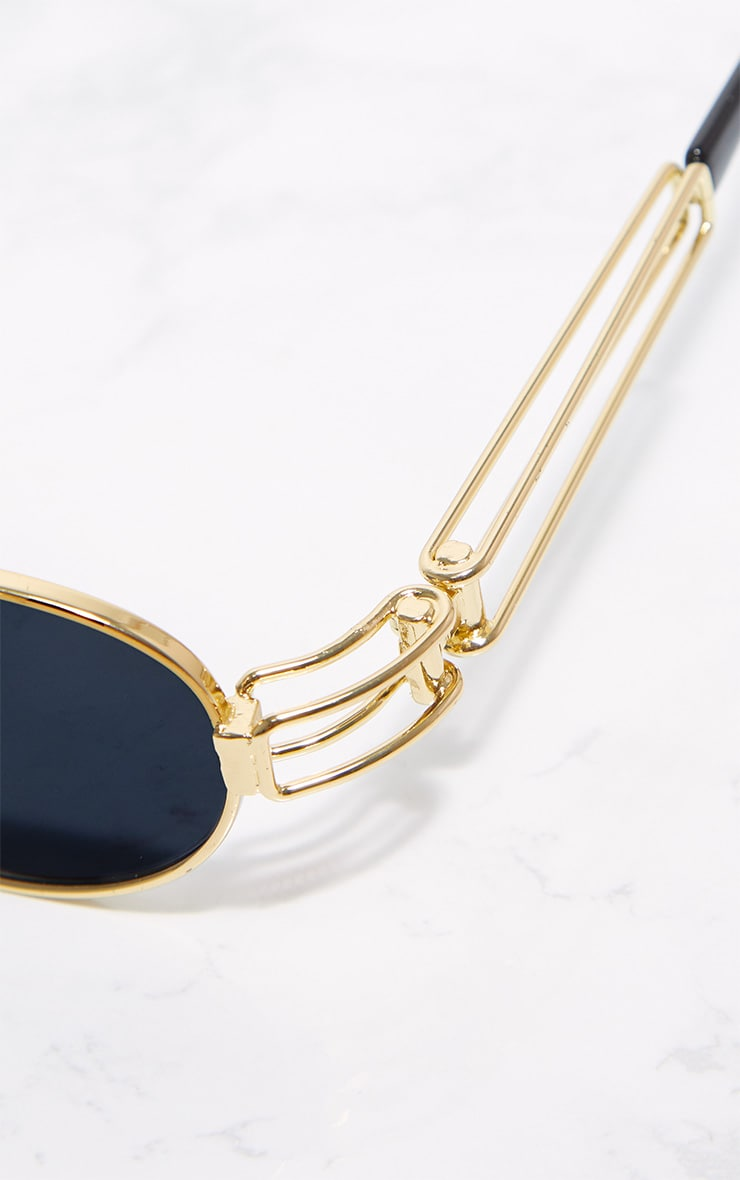 Gold Black Lens Oval Metal Frame Sunglasses 4