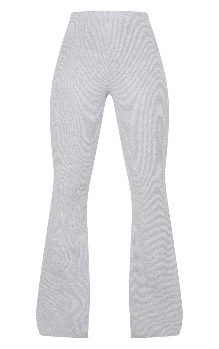 Grey Brushed Rib High Waisted Flared Trouser 3