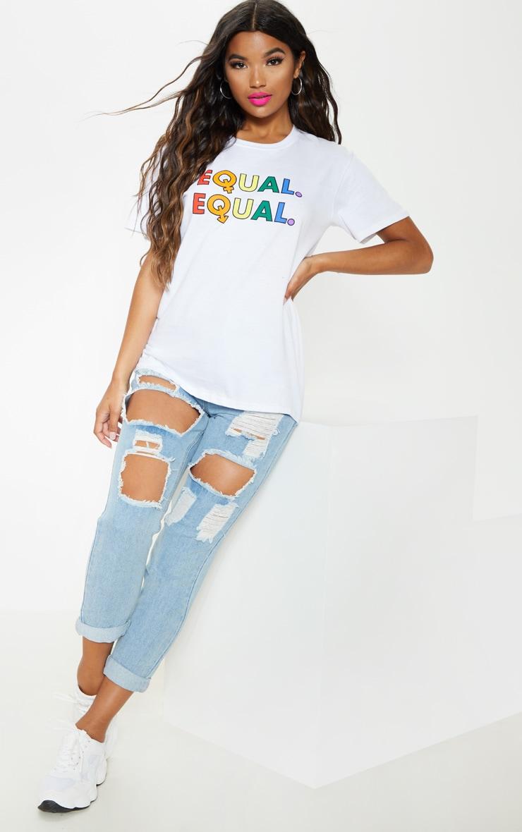 UNISEX White EQUAL Oversized T-shirt  5