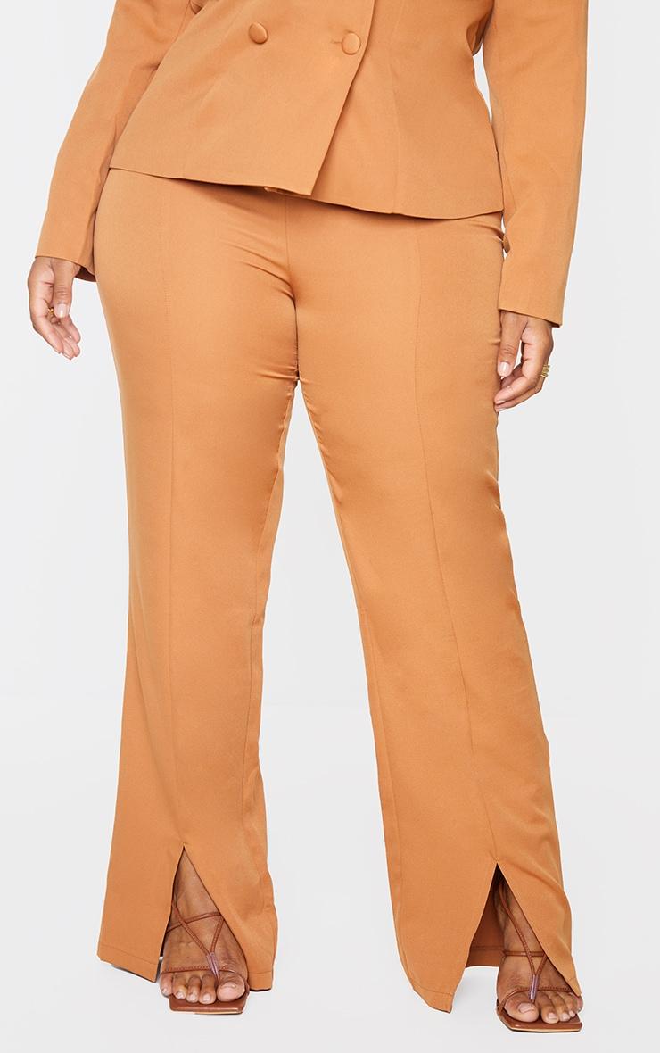 Plus Camel Seam Front Woven Split Hem Trousers 2