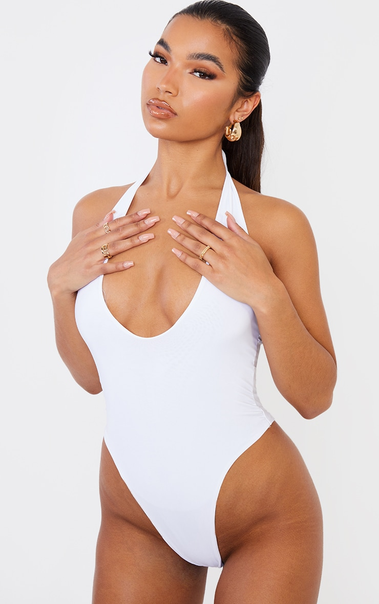 White Slinky Halterneck Bodysuit 2