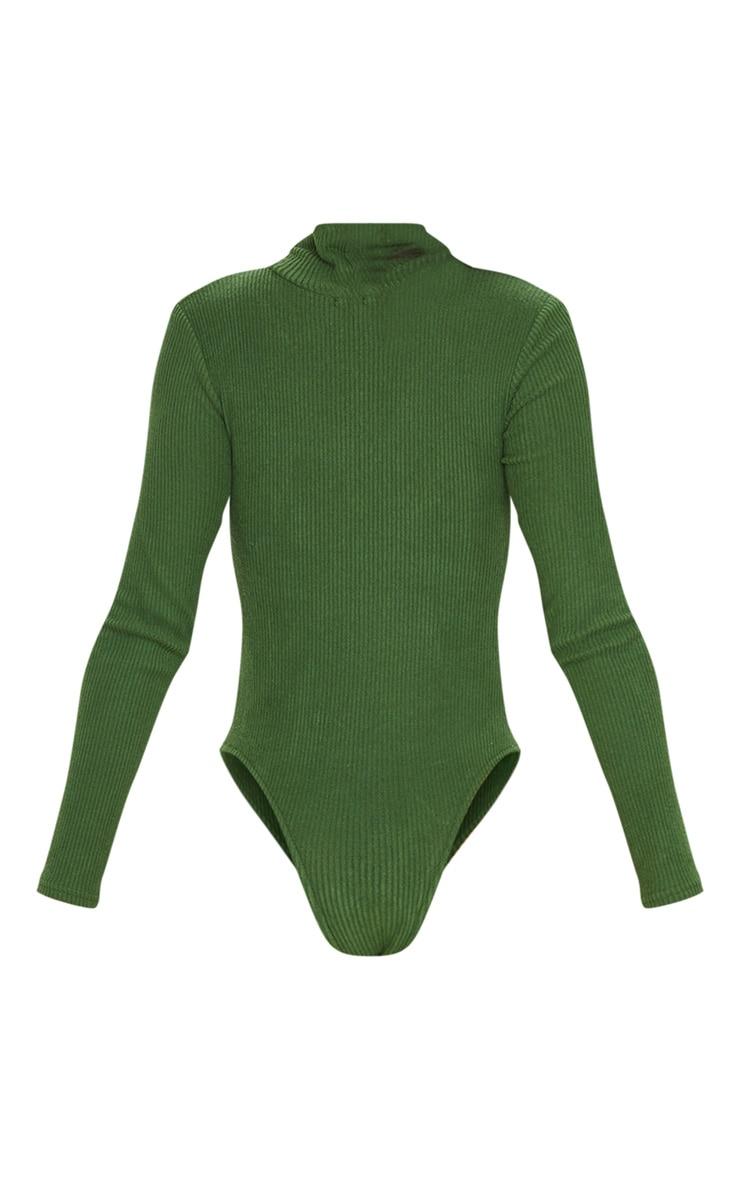 Olive Khaki Brushed Rib Roll Neck Long Sleeve Bodysuit 4