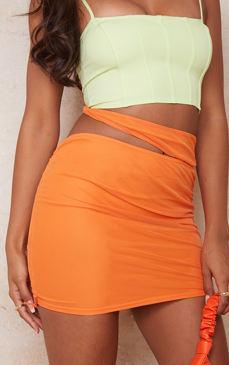 Orange Tie Side Cut Out Ruched Mini Skirt 5