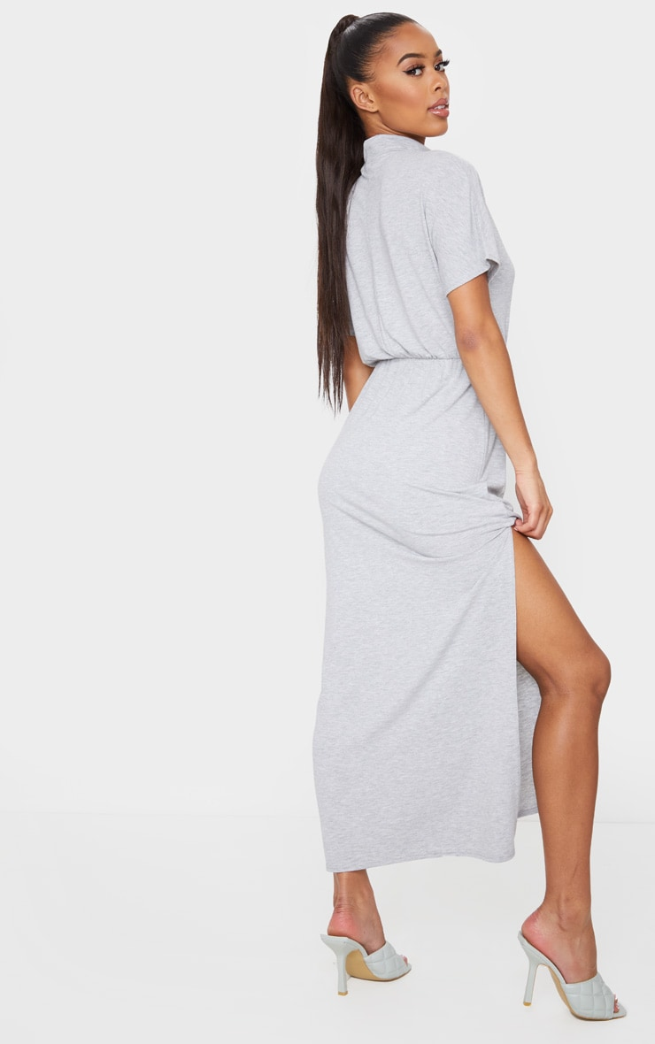 Grey High Neck Elasticated Split Detail Midi Dress 2