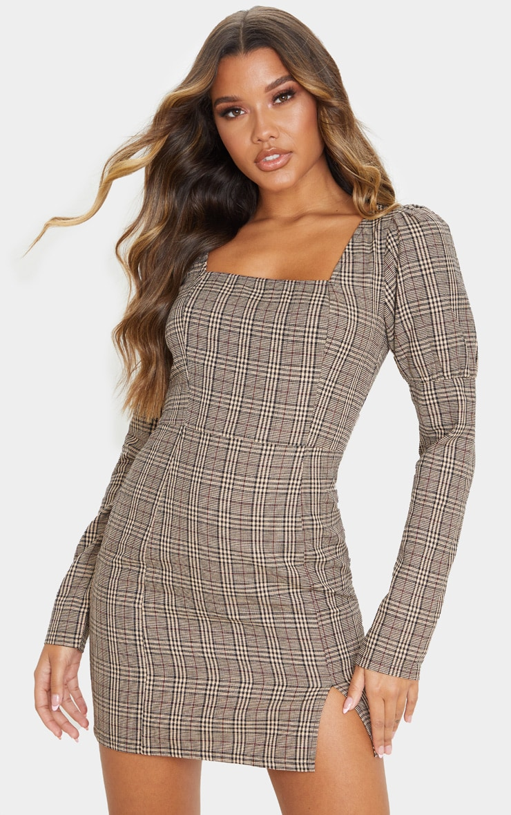 Beige Check Print Square Neck Side Split Shift Dress 1