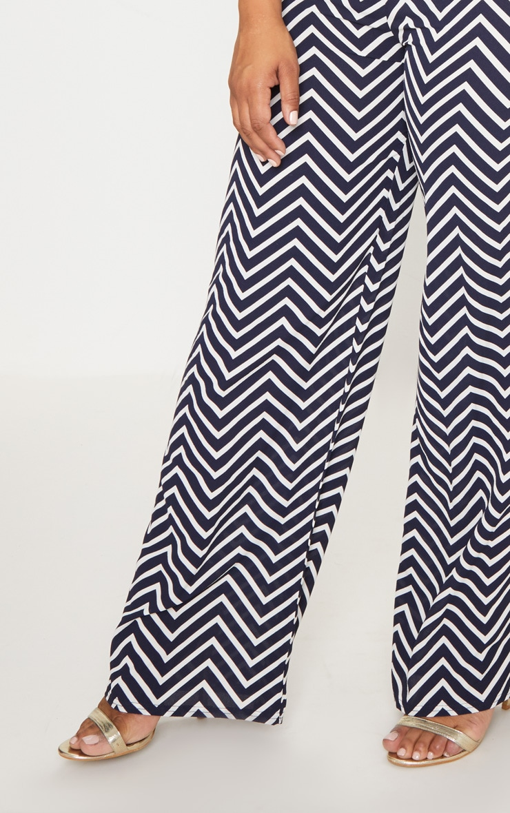 Plus Navy Chevron Wide Leg Trousers 5
