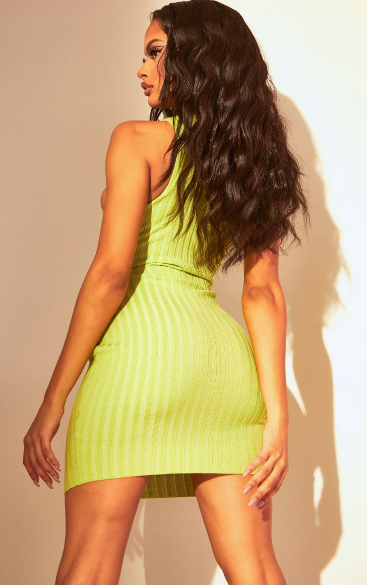 Lime Knitted Racer Neck Bodycon Dress 2