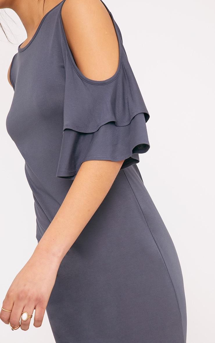Sabriinar Grey Jersey Cold Shoulder Frill Sleeve Shift Dress 5