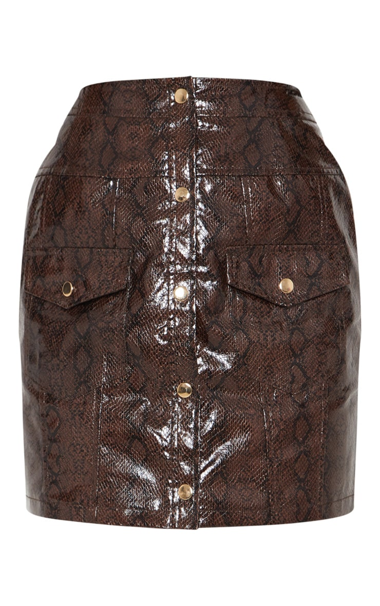 Brown Snakeskin Popper Front Pocket Mini Skirt 3