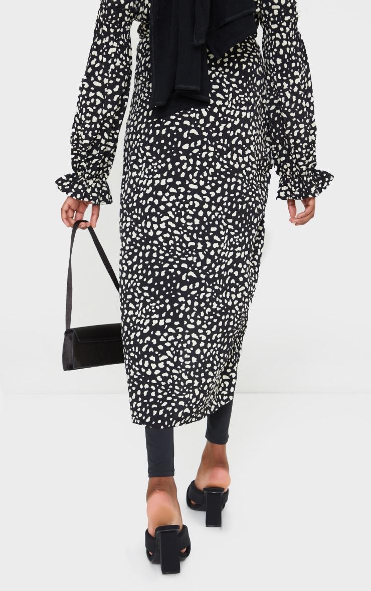 Black Leopard Printed Wrap Tie Midi Skirt 3