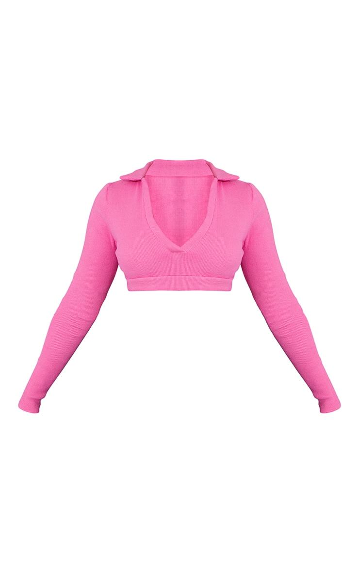 Hot Pink Rib Collar Long Sleeve Elastic Hem Crop Top 5