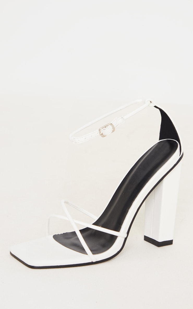 White Square Toe Cross Strap High Block Heel Sandal 3