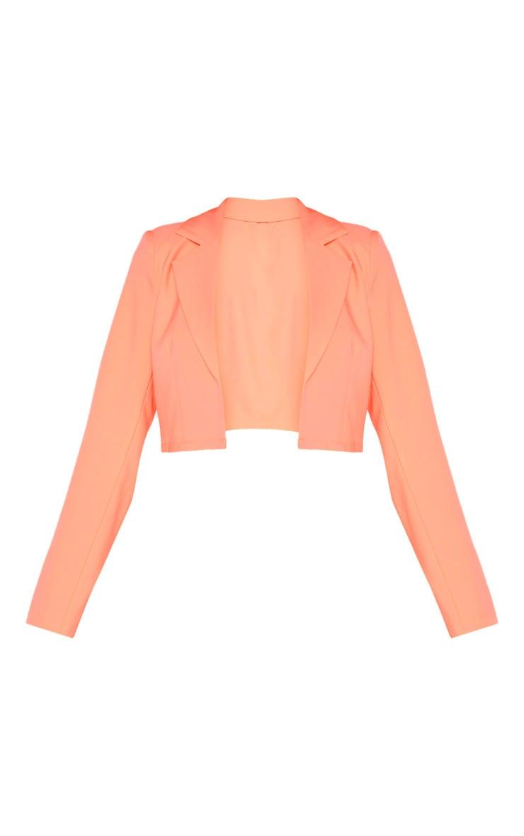 Neon Peach Cropped Woven Blazer    3