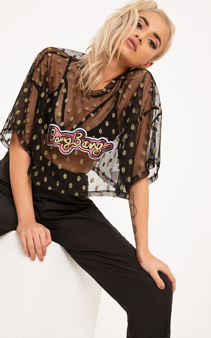 Bang Bang Black Glitter Mesh Oversized Crop Top 1