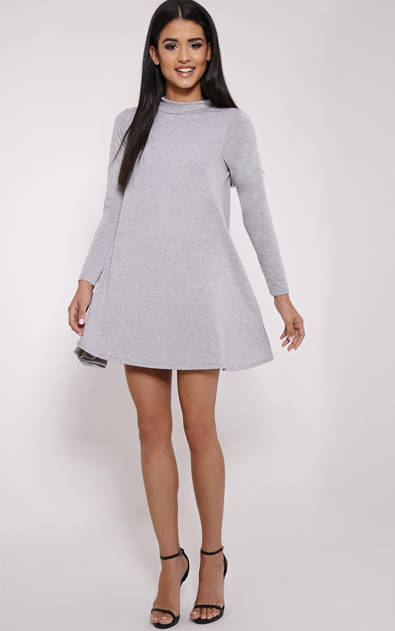 Basic Marl Grey Long Sleeved Jersey Swing Dress 3