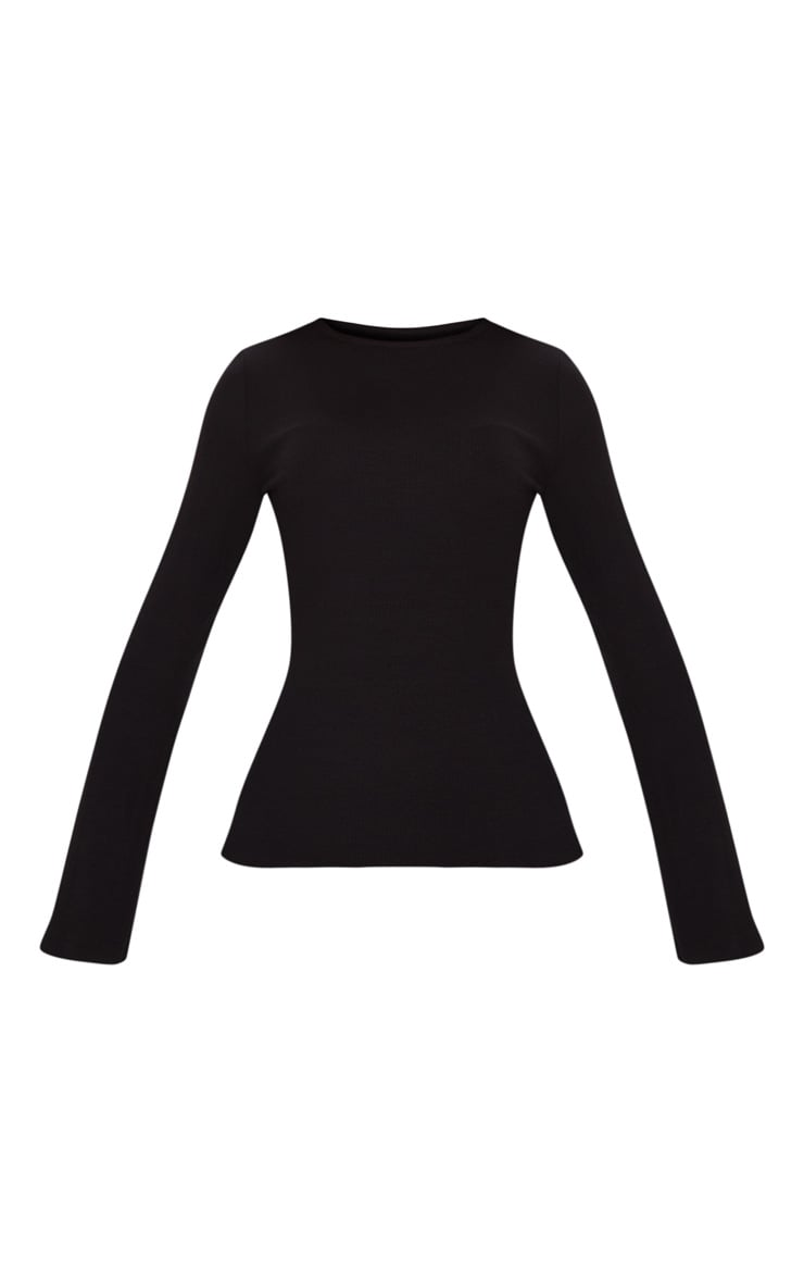 Black Crew Neck Ribbed Long Sleeve Top 3