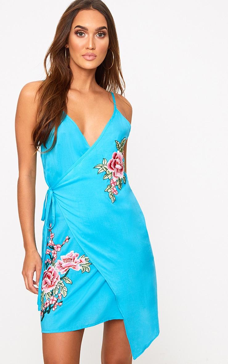 Blue Applique Wrap Shift Dress 1