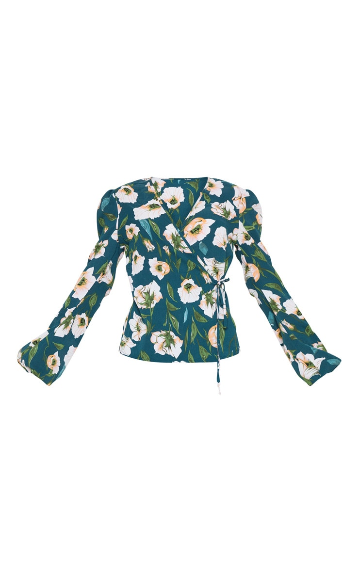 Green Floral Print Plunge Tie Side Long Sleeve Top 3