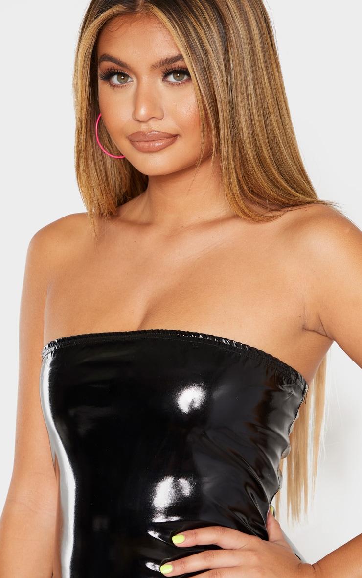 Robe bandeau moulante noire en similicuir 5