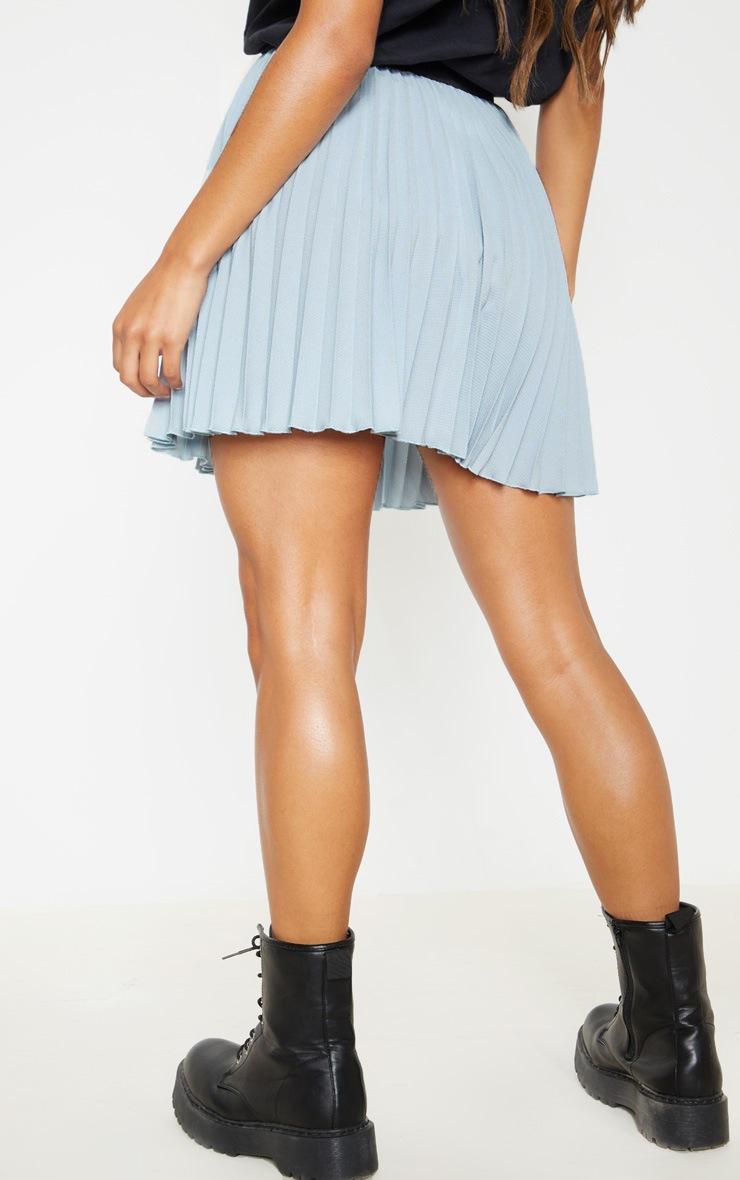 Dusty Blue  Pleated Mini Skirt 4