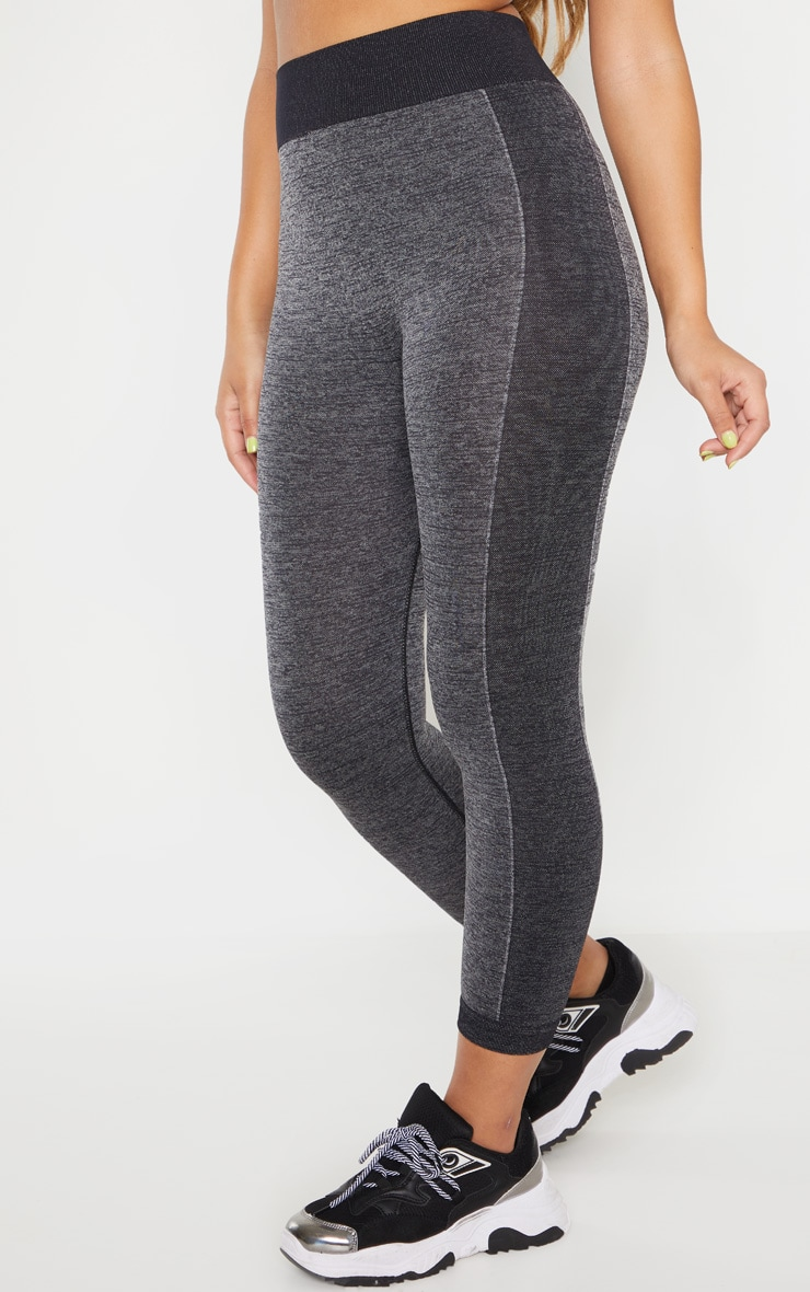 Dark Grey Seamless Contrast Panel Cropped Legging 2